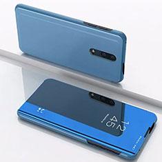 Handytasche Stand Schutzhülle Leder Rahmen Spiegel Tasche für OnePlus 7 Blau
