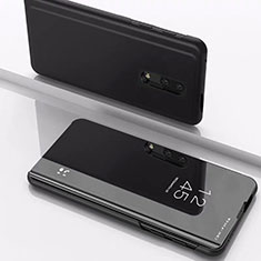 Handytasche Stand Schutzhülle Leder Rahmen Spiegel Tasche für OnePlus 7 Schwarz