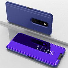 Handytasche Stand Schutzhülle Leder Rahmen Spiegel Tasche für Oppo A9X Blau