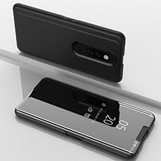 Handytasche Stand Schutzhülle Leder Rahmen Spiegel Tasche für Oppo A9X Schwarz