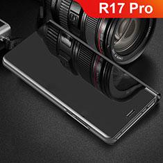 Handytasche Stand Schutzhülle Leder Rahmen Spiegel Tasche für Oppo R17 Pro Schwarz