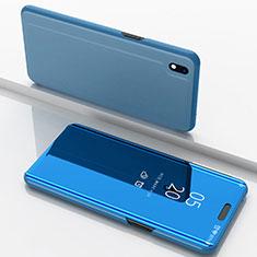 Handytasche Stand Schutzhülle Leder Rahmen Spiegel Tasche für Samsung Galaxy A10 Blau