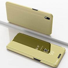 Handytasche Stand Schutzhülle Leder Rahmen Spiegel Tasche für Samsung Galaxy A10 Gold