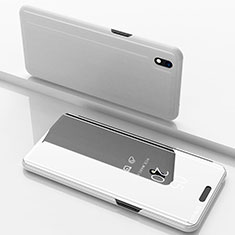 Handytasche Stand Schutzhülle Leder Rahmen Spiegel Tasche für Samsung Galaxy A10 Silber