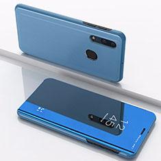 Handytasche Stand Schutzhülle Leder Rahmen Spiegel Tasche für Samsung Galaxy A30 Blau