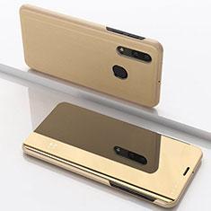 Handytasche Stand Schutzhülle Leder Rahmen Spiegel Tasche für Samsung Galaxy A30 Gold