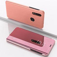 Handytasche Stand Schutzhülle Leder Rahmen Spiegel Tasche für Samsung Galaxy A30 Rosegold