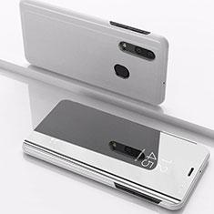Handytasche Stand Schutzhülle Leder Rahmen Spiegel Tasche für Samsung Galaxy A30 Silber