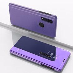Handytasche Stand Schutzhülle Leder Rahmen Spiegel Tasche für Samsung Galaxy A30 Violett
