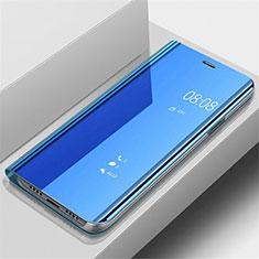 Handytasche Stand Schutzhülle Leder Rahmen Spiegel Tasche für Samsung Galaxy A70 Blau