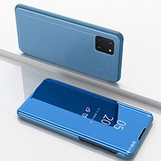 Handytasche Stand Schutzhülle Leder Rahmen Spiegel Tasche für Samsung Galaxy A81 Blau