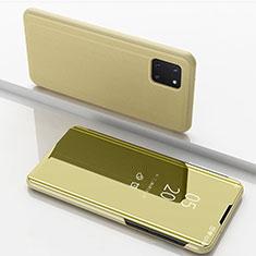 Handytasche Stand Schutzhülle Leder Rahmen Spiegel Tasche für Samsung Galaxy A81 Gold