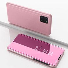 Handytasche Stand Schutzhülle Leder Rahmen Spiegel Tasche für Samsung Galaxy A81 Rosegold