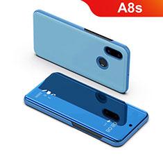 Handytasche Stand Schutzhülle Leder Rahmen Spiegel Tasche für Samsung Galaxy A8s SM-G8870 Blau