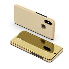 Handytasche Stand Schutzhülle Leder Rahmen Spiegel Tasche für Samsung Galaxy A8s SM-G8870 Gold