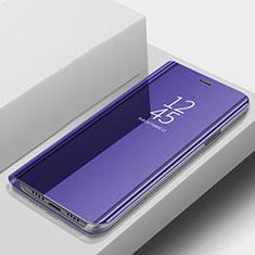 Handytasche Stand Schutzhülle Leder Rahmen Spiegel Tasche für Samsung Galaxy A9s Blau