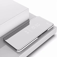 Handytasche Stand Schutzhülle Leder Rahmen Spiegel Tasche für Samsung Galaxy A9s Silber