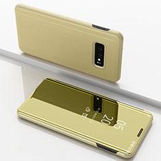 Handytasche Stand Schutzhülle Leder Rahmen Spiegel Tasche für Samsung Galaxy S10e Gold