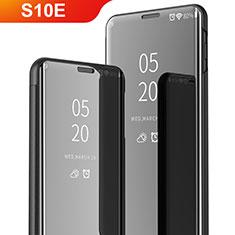 Handytasche Stand Schutzhülle Leder Rahmen Spiegel Tasche für Samsung Galaxy S10e Schwarz