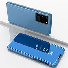 Handytasche Stand Schutzhülle Leder Rahmen Spiegel Tasche für Samsung Galaxy S20 Ultra 5G Blau
