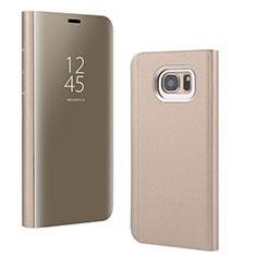 Handytasche Stand Schutzhülle Leder Rahmen Spiegel Tasche für Samsung Galaxy S7 Edge G935F Gold