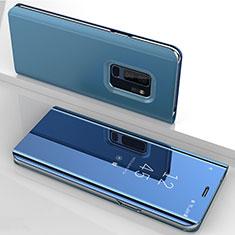 Handytasche Stand Schutzhülle Leder Rahmen Spiegel Tasche für Samsung Galaxy S9 Plus Blau