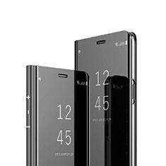 Handytasche Stand Schutzhülle Leder Rahmen Spiegel Tasche für Sony Xperia 1 Schwarz