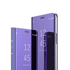 Handytasche Stand Schutzhülle Leder Rahmen Spiegel Tasche für Sony Xperia 1 Violett