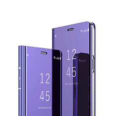 Handytasche Stand Schutzhülle Leder Rahmen Spiegel Tasche für Sony Xperia XZ4 Violett