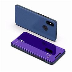 Handytasche Stand Schutzhülle Leder Rahmen Spiegel Tasche für Xiaomi Mi 8 Blau