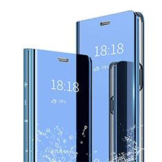 Handytasche Stand Schutzhülle Leder Rahmen Spiegel Tasche für Xiaomi Mi 8 Pro Global Version Blau