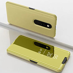 Handytasche Stand Schutzhülle Leder Rahmen Spiegel Tasche für Xiaomi Mi 9T Pro Gold