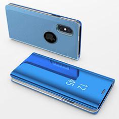 Handytasche Stand Schutzhülle Leder Rahmen Spiegel Tasche L02 für Apple iPhone X Blau