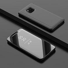 Handytasche Stand Schutzhülle Leder Rahmen Spiegel Tasche L02 für Huawei Mate 20 Pro Schwarz