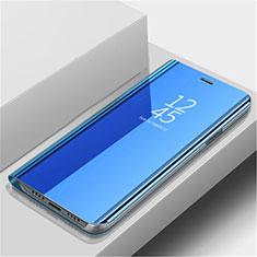 Handytasche Stand Schutzhülle Leder Rahmen Spiegel Tasche L02 für Huawei Nova 5 Blau