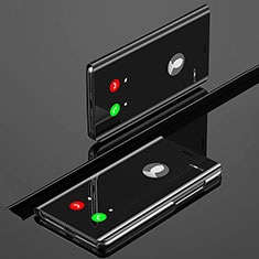Handytasche Stand Schutzhülle Leder Rahmen Spiegel Tasche L02 für Huawei Nova 5 Schwarz