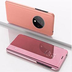 Handytasche Stand Schutzhülle Leder Rahmen Spiegel Tasche L02 für OnePlus 7T Rosegold