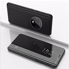 Handytasche Stand Schutzhülle Leder Rahmen Spiegel Tasche L02 für OnePlus 7T Schwarz