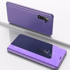 Handytasche Stand Schutzhülle Leder Rahmen Spiegel Tasche L02 für Samsung Galaxy Note 10 5G Blau