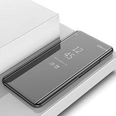 Handytasche Stand Schutzhülle Leder Rahmen Spiegel Tasche L02 für Samsung Galaxy S10 5G SM-G977B Schwarz