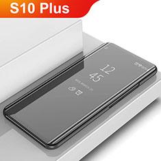 Handytasche Stand Schutzhülle Leder Rahmen Spiegel Tasche L02 für Samsung Galaxy S10 Plus Schwarz