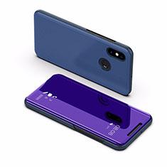 Handytasche Stand Schutzhülle Leder Rahmen Spiegel Tasche L02 für Xiaomi Mi Max 3 Blau