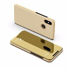 Handytasche Stand Schutzhülle Leder Rahmen Spiegel Tasche L02 für Xiaomi Mi Max 3 Gold