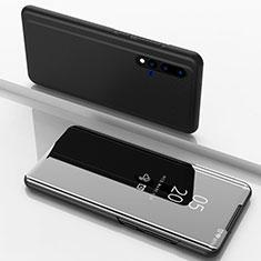 Handytasche Stand Schutzhülle Leder Rahmen Spiegel Tasche L03 für Huawei Nova 5 Schwarz