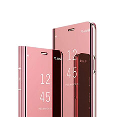 Handytasche Stand Schutzhülle Leder Rahmen Spiegel Tasche L03 für Huawei P40 Rosegold