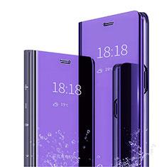 Handytasche Stand Schutzhülle Leder Rahmen Spiegel Tasche L04 für Huawei Mate 20 Pro Blau