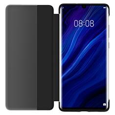 Handytasche Stand Schutzhülle Leder Rahmen Spiegel Tasche L05 für Huawei P30 Schwarz