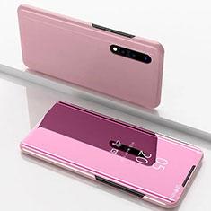 Handytasche Stand Schutzhülle Leder Rahmen Spiegel Tasche M01 für Samsung Galaxy A70 Rosegold
