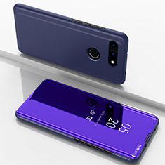 Handytasche Stand Schutzhülle Leder Rahmen Spiegel Tasche M03 für Huawei Honor View 20 Blau