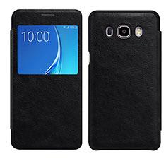 Handytasche Stand Schutzhülle Leder S01 für Samsung Galaxy J7 (2016) J710F J710FN Schwarz